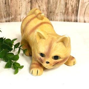 Vintage Porcelain Yellow Cat Figurine
